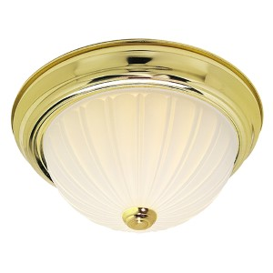 Polished Brass Three-Light 15-Inch Wide Flush Mount with Frosted Melon Glass