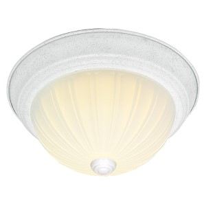 Textured White Three-Light 15-Inch Wide Flush Mount with Frosted Melon Glass