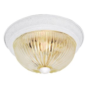 Textured White Three-Light 15-Inch Wide Flush Mount with Clear Ribbed Glass