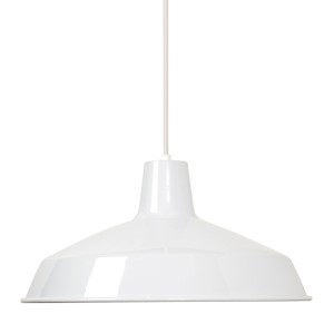 White One-Light 16-Inch Wide Dome Pendant with Warehouse Shade and White Aluminum