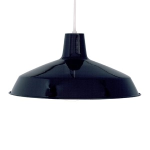 Black One-Light 16-Inch Wide Dome Pendant with Warehouse Shade and Black Aluminum