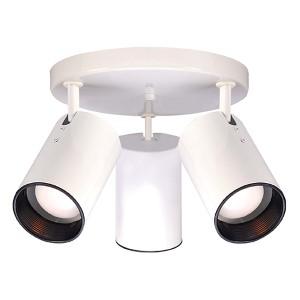 White Three-Light R20 Straight Cylinder Semi-Flush with White Aluminum
