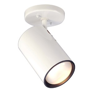 White One-Light R30 Straight Cylinder Semi-Flush with White Aluminum