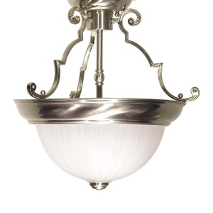 Brushed Nickel Two-Light 13-Inch Wide Semi-Flush with Frosted Melon Glass