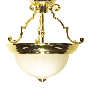 Polished Brass Two-Light 13-Inch Wide Semi-Flush with Frosted Melon Glass