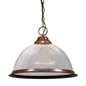 Old Bronze One-Light 15-Inch Wide Dome Pendant with Clear Prismatic Glass
