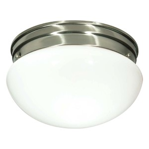 Brushed Nickel Two-Light Flush Mount with Medium White Mushroom Glass