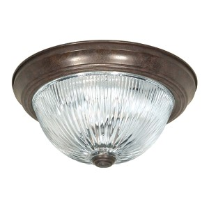 Old Bronze Three-Light 15-Inch Wide Flush Mount with Clear Ribbed Glass