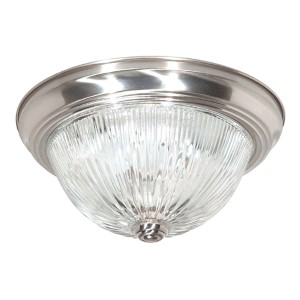 Brushed Nickel Three-Light 15-Inch Wide Flush Mount with Clear Glass
