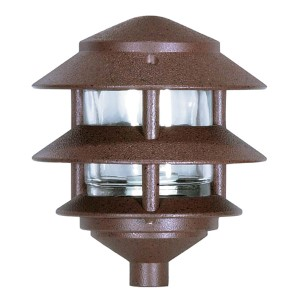 Old Bronze One-Light Three-Tier Outdoor Path Light with Small Hood