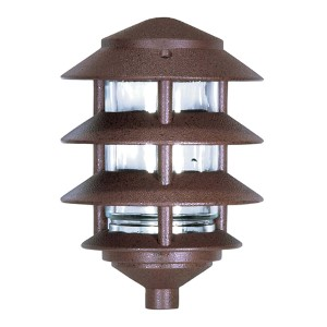 Old Bronze One-Light Four-Tier Outdoor Path Light with Small Hood