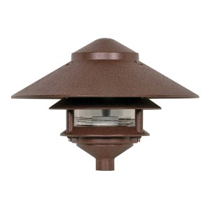 Old Bronze One-Light Two-Tier Outdoor Path Light with Large Hood