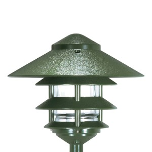 Green One-Light Three-Tier Outdoor Path Light with Large Hood