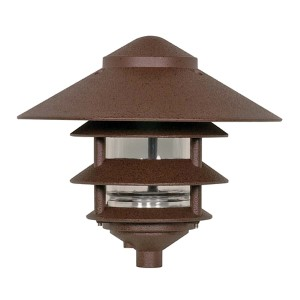 Old Bronze One-Light Three-Tier Outdoor Path Light with Large Hood