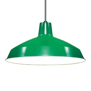 Green One-Light Dome Pendant with Warehouse Shade