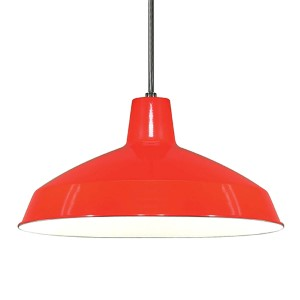 Red One-Light Dome Pendant with Warehouse Shade