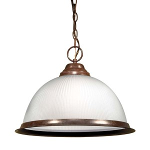 Old Bronze One-Light Dome Pendant with Frosted Prismatic Glass
