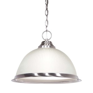 Brushed Nickel One-Light Dome Pendant with Frosted Prismatic Glass