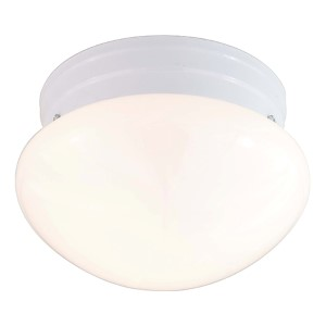 White Two-Light Flush Mount with Medium White Mushroom Glass
