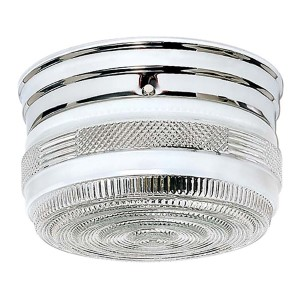 Polished Chrome Two-Light Flush Mount with Medium Crystal and White Drum
