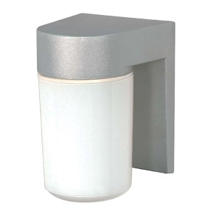 Satin Aluminum One-Light Outdoor Utility Wall Sconce with White Cylindrical Glass