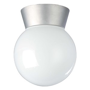 Satin Aluminum One-Light Outdoor Utility Flush Mount with White Globe Glass