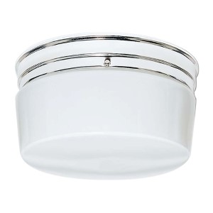 Polished Chrome Two-Light Flush Mount with Large White Drum