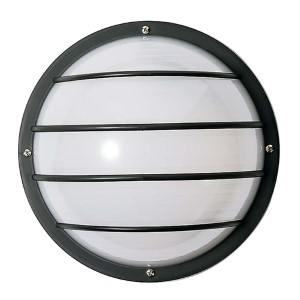 Black One-Light Outdoor Round Cage Wall Sconce with Polysynthetic Body and Lens