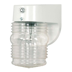 White One-Light Outdoor Porch Wall Sconce with Clear Mason Jar and Photoelectric Sensor