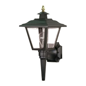 Black One-Light Outdoor Coach Lantern with Brass Trim Acrylic Panel