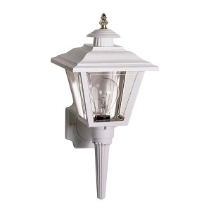 White One-Light Outdoor Coach Lantern with Brass Trim Acrylic Panel