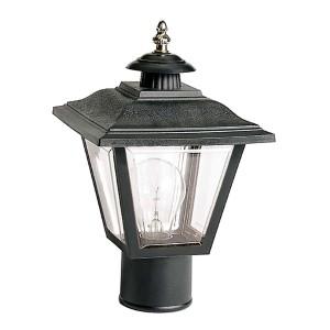 Black One-Light Outdoor Post Lantern with Brass Trim Acrylic Panel