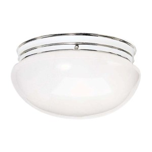 Polished Brass Two-Light Flush Mount with Large White Mushroom Glass