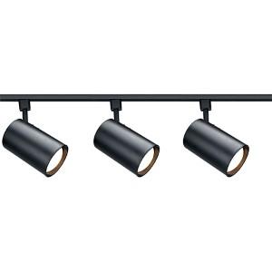 Black Three-Light R30 Straight Cylindrical Track Kit
