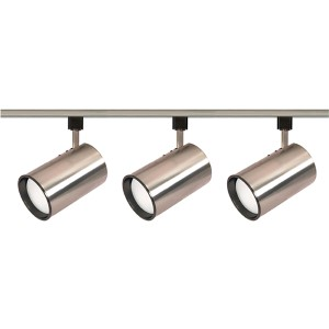 Brushed Nickel Three-Light R30 Straight Cylindrical Track Kit