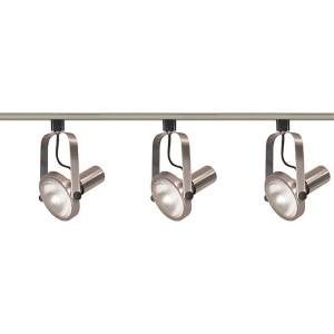 Brushed Nickel Three-Light PAR30 Gimbal Ring Track Kit