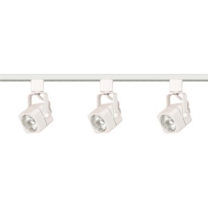 White Three-Light Line Voltage Square Track Kit