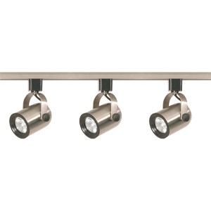 Brushed Nickel Three-Light Line Voltage Round Back Track Kit
