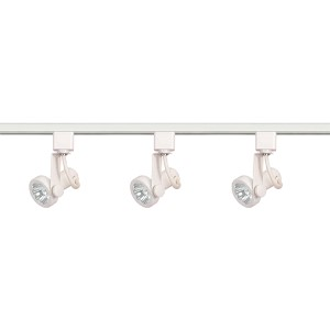 White Three-Light Line Voltage Gimbal Ring Track Kit
