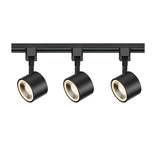 Black LED Round Track Lighting Kit 3000K 36 Degree