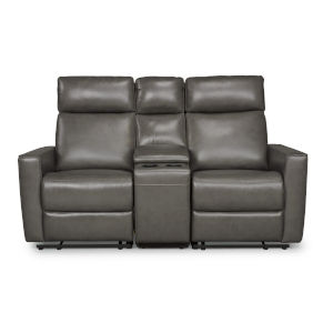 Gray Power Motion Reclining Console Loveseat