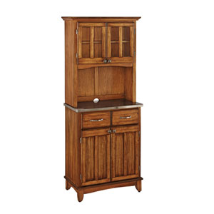 Cottage Oak Buffet with Two Door Hutch and Stainless Top