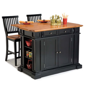 Kitchen Island and Stools Black and Distressed Oak