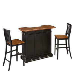 Americana Black/Oak Bar and Two Stools