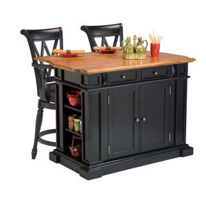 Kitchen Island in Black and Distressed Oak Finish and Two Deluxe Bar Stools in Black Finish