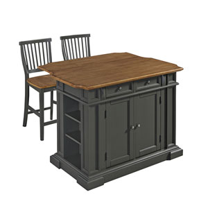 Americana Kitchen Island with Two Stools