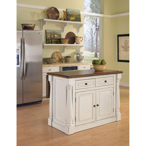 Monarch Antique White Sanded Distressed Kitchen Island
