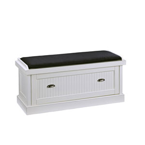 Nantucket Distressed White Upholstered Storage Bench