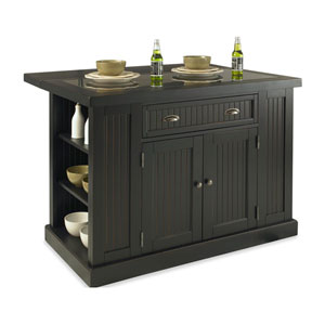 Nantucket Distressed Black Kitchen Island