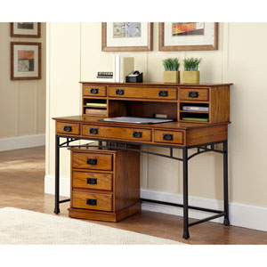 Modern Craftsman Executive Desk, Hutch and Mobile File